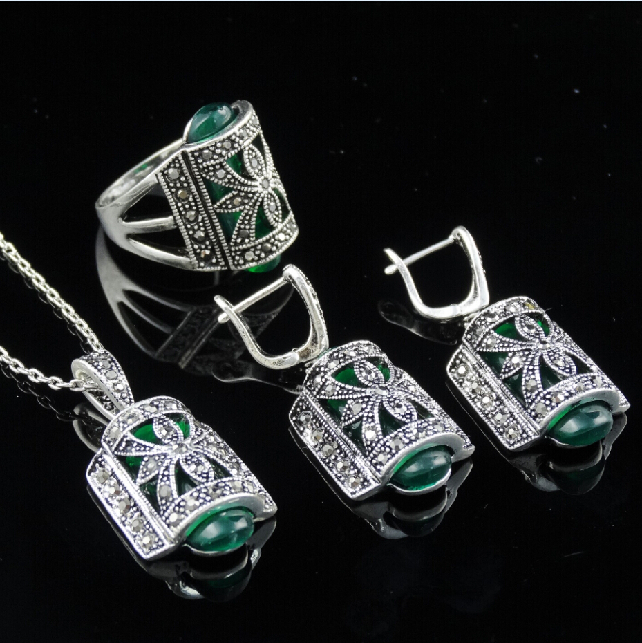 Unique-Design-Antique-Silver-Plated-Green-Resin-Stone-Fashion-Vintage-Jewelry-Set-With-Necklace-Earring-Rin